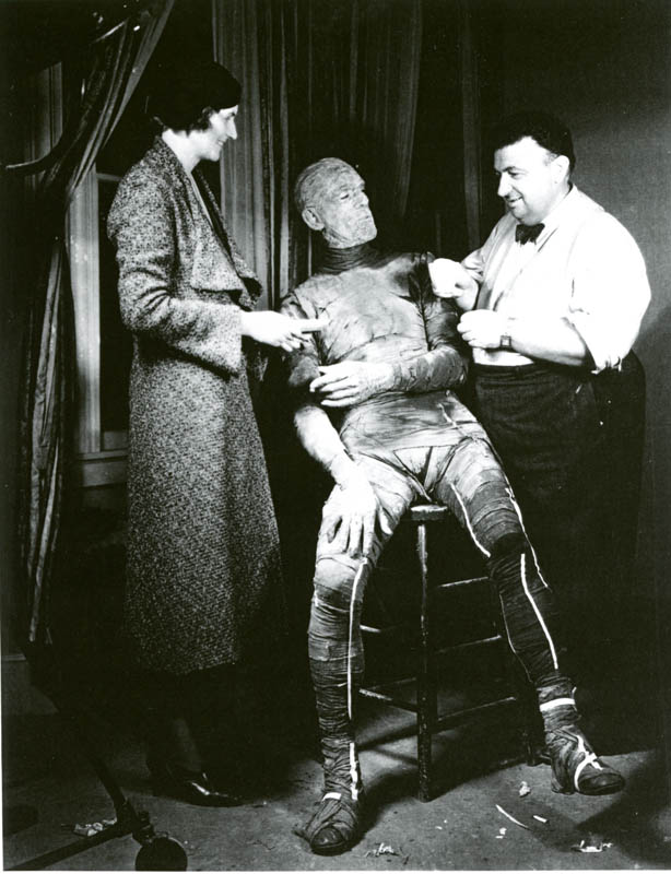 The Mummy (1932) Director Karl Freund, (the Director's grandfather) puts the finishing touches on Boris Karloff.