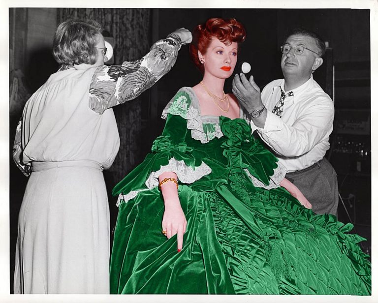 Dubarry Was a Lady (1943) Cinematographer Karl Freund, checks the light for a scene with actress Lucille Ball.